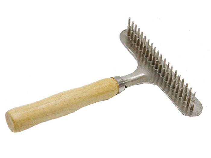 Расческа для животных Каскад, деревянная ручка, грабли, большая