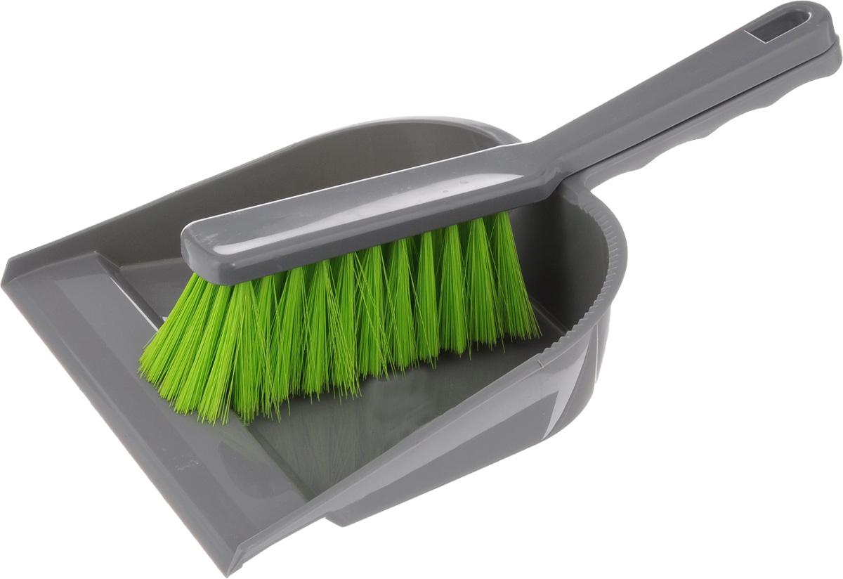 Набор для уборки York, цвет: серый, салатовый, 2 шт. 6201 совок york клип с резиновым краем цвет оранжевый черный