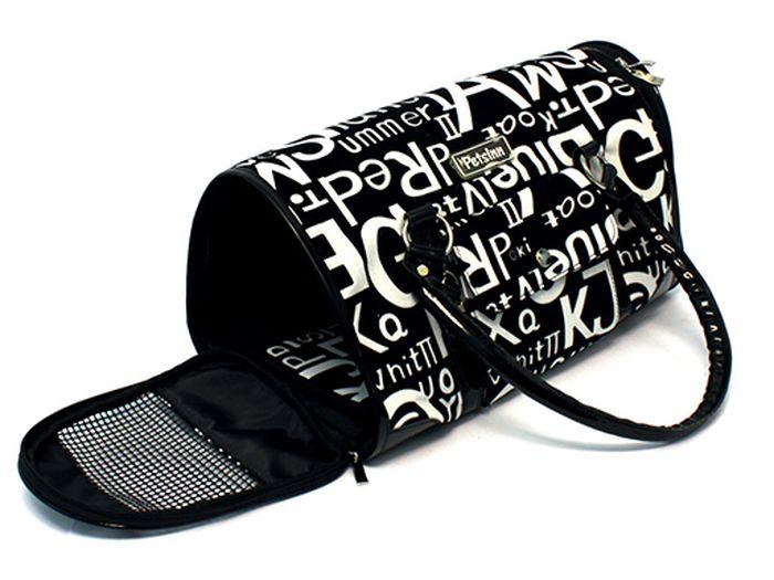 Сумка-переноска Каскад Collection, с белыми буквами, цвет: черный, 38х17 см сумка черная замшевая фото