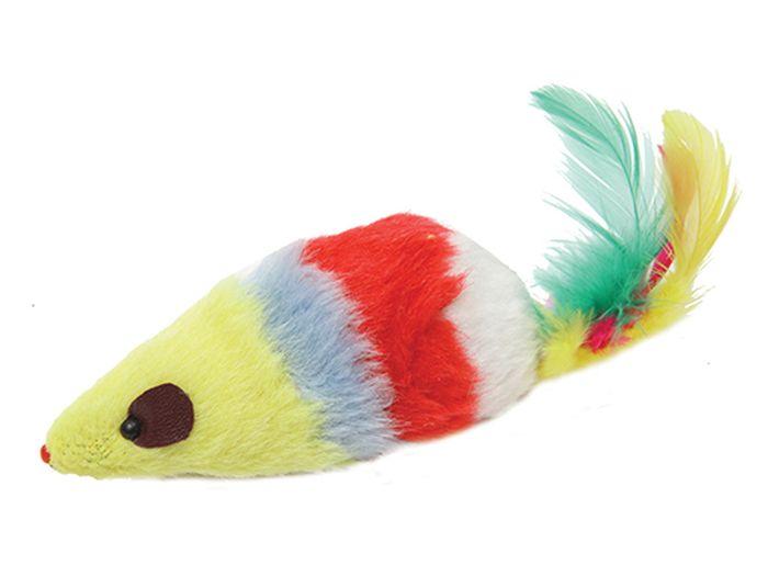 Игрушка для животных Каскад Мышь, цветная, с длинным мехом, полосатая, с перьями, 12,5 см27754636Мышь цветная длинный мех полосатая с перьями 12,5см