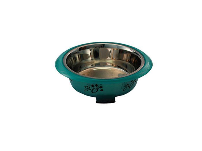 Миска для животных Каскад, из нержавеющей стали, в пластике, с ручками, объем 0,35 л, диаметр 14 см