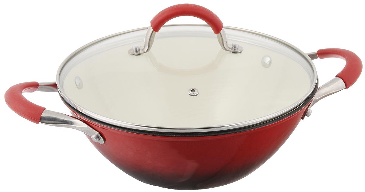 Сковорода-вок Mayer & Boch с крышкой, цвет: красный. Диаметр 26 см. 2086520865Сковорода-вок Mayer & Boch, изготовленная из чугуна, идеально подходит для приготовления вкусных тушеных блюд. Она имеет внешнее и внутреннее эмалированное покрытие. Чугун является традиционным высокопрочным, экологически чистым материалом. Причем, чем дольше и чаще вы пользуетесь этой посудой, тем лучше становятся ее свойства. Высокая теплоемкость чугуна позволяет ему сильно нагреваться и медленно остывать, а это в свою очередь обеспечивает равномерное приготовление пищи. Чугун не вступает в какие-либо химические реакции с пищей в процессе приготовления и хранения, а плотное покрытие - безупречное препятствие для бактерий и запахов. Пища, приготовленная в чугунной посуде, благодаря экологической чистоте материала не может нанести вред здоровью человека. Сковорода-вок оснащена двумя удобными ручками из нержавеющей стали с силиконовыми вставками. Крышка изготовлена из жаропрочного стекла и оснащена отверстием для выпуска пара и...