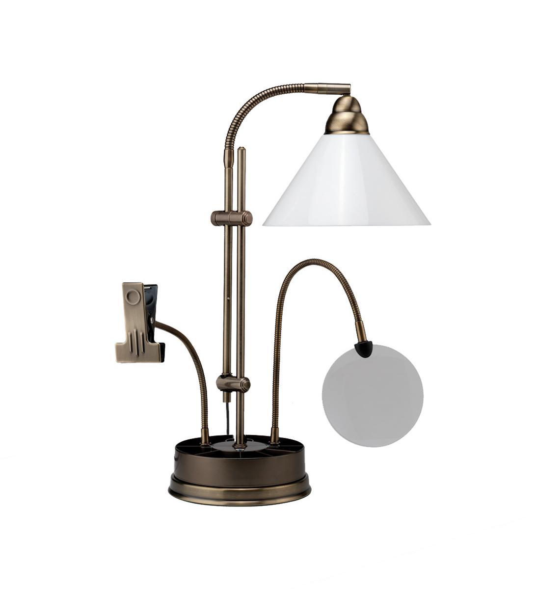 Лампа настольная Daylight. E21038 (D21038)E21038 (D21038)Настольная лампа для рукоделия (медь). В комплекте: лампа 20W дневного света энергосберегающая, эквивалентная 100W; подставка-органайзер; лупа - 13 см диаметр, увеличение 1,75; держатель схемы для вышивки Материал: пластик, металл
