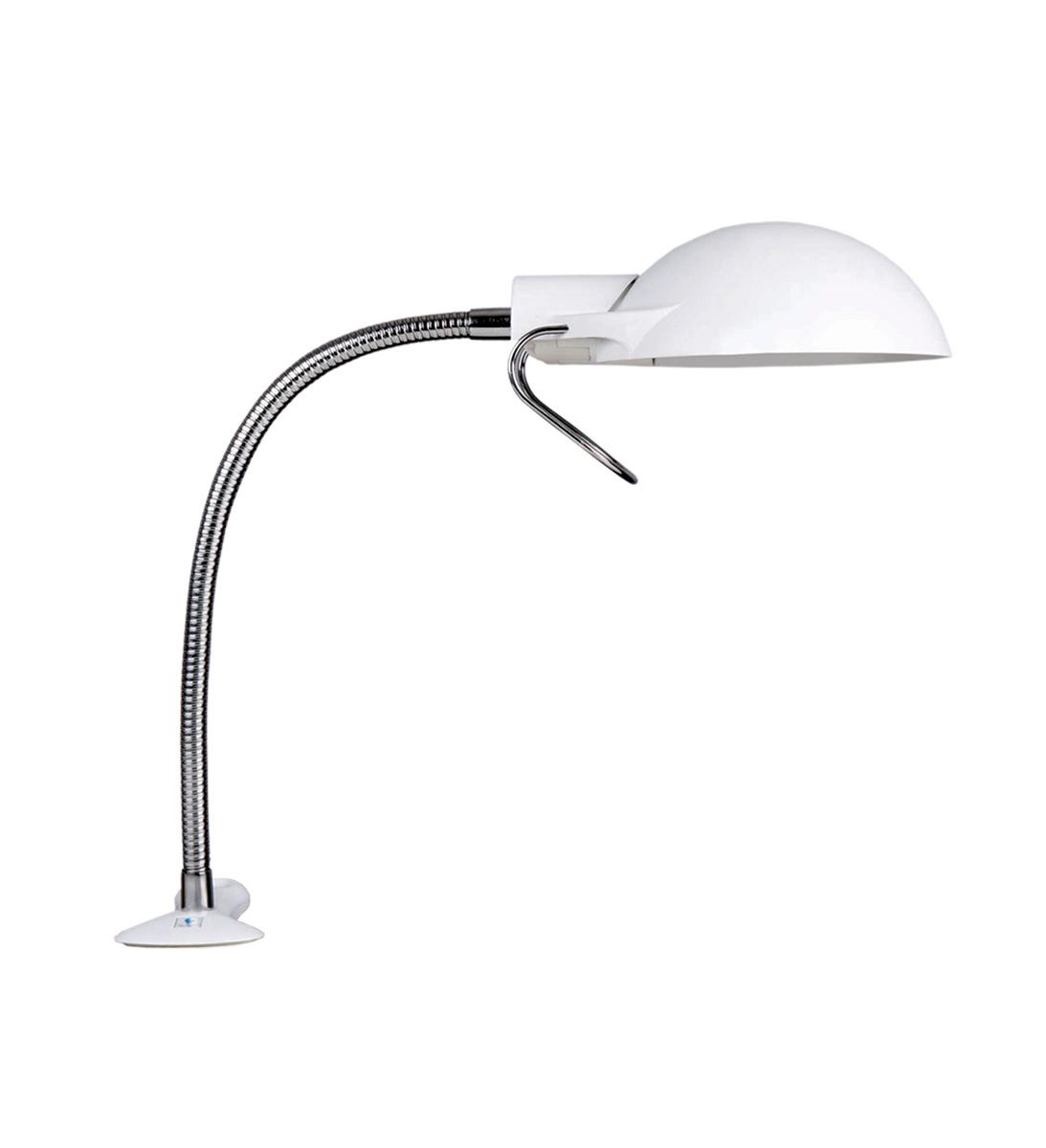 Лампа-клипса DaylightE31120 (D31120)Лампа электрическая - клипса с креплением к столу. В комплекте: лампа 11W дневного света энергосберегающая, эквивалентная 60W; гибкий держатель - длина 36 см. Материал: пластик, металл