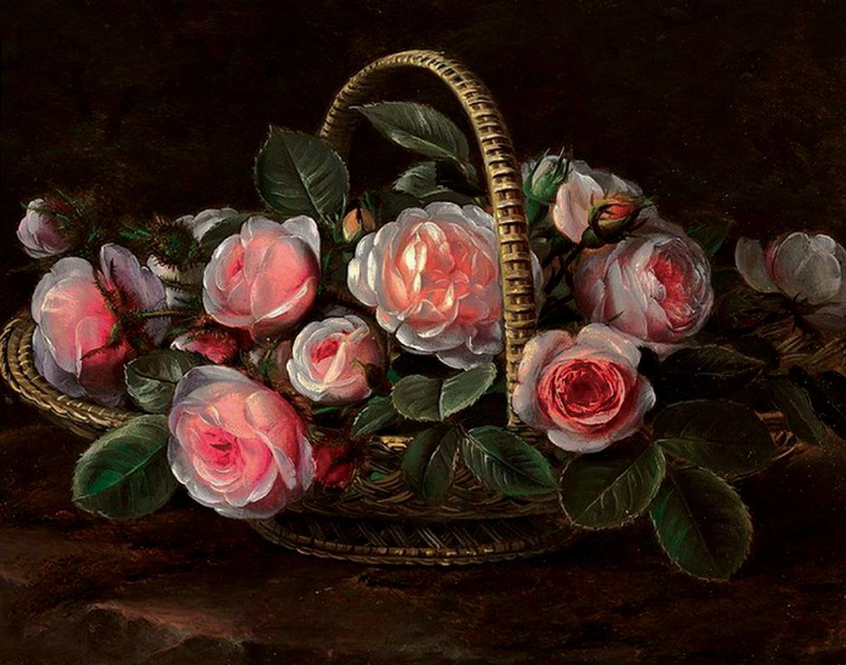 Принт для вышивания Zengana Корзина с розами, 30 х 38 см130-ZENGANAПринт на ткани (габардин высокого качества) предназначен для объемной вышивки (лентами, гладью, бисером). Картина напечатана на профессиональном оборудовании, не выгорает, при стирке не линяет.
