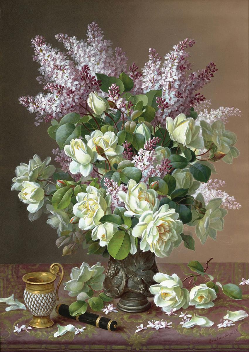 Принт для вышивания Zengana Сирень и белые розы, 40 х 28 см200-ZENGANAПринт на ткани (габардин высокого качества) предназначен для объемной вышивки (лентами, гладью, бисером). Картина напечатана на профессиональном оборудовании, не выгорает, при стирке не линяет.