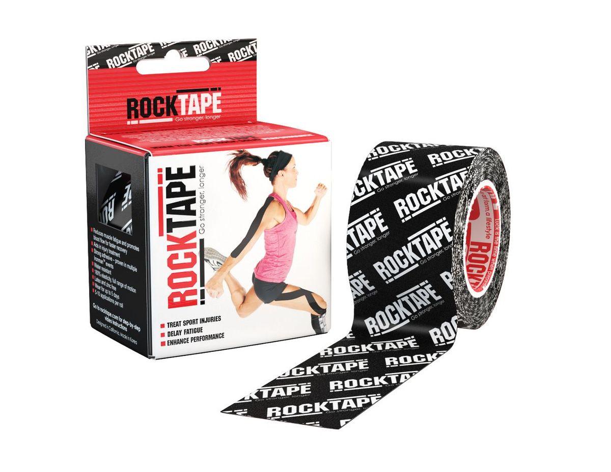 Rocktape Кинезиотейп Classic, цвет: черный логотип, 5см х 5м