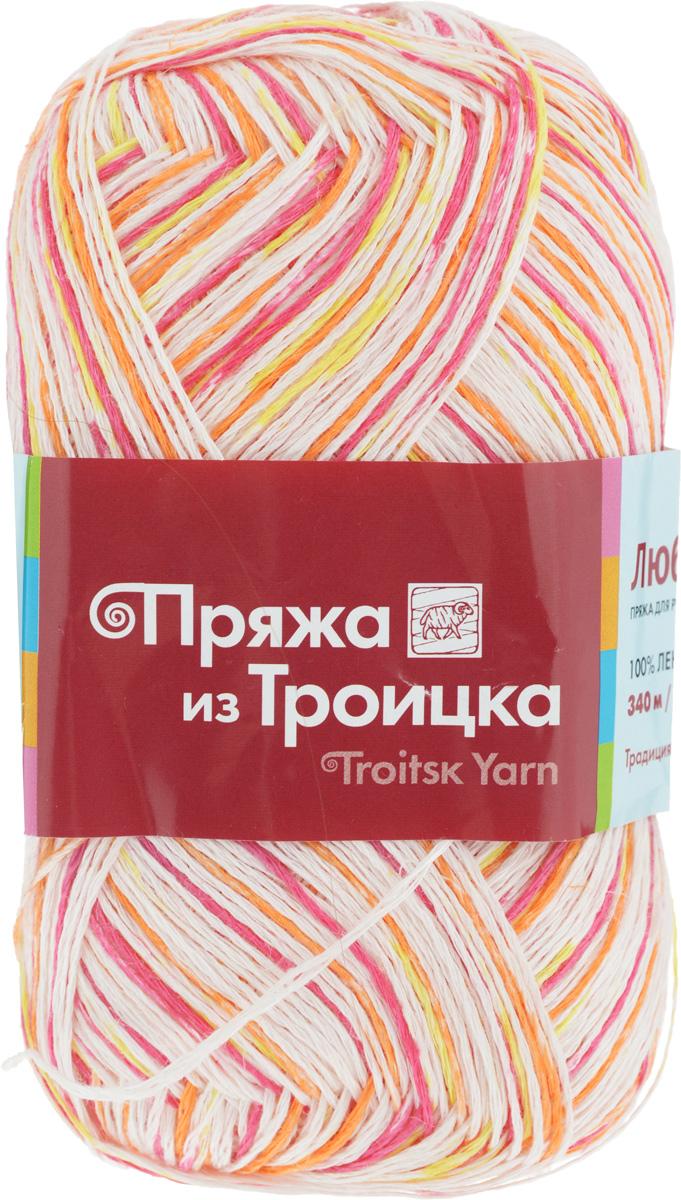 Пряжа для вязания Любимая, цвет: белый, фуксия, оранжевый (7048), 340 м, 100 г, 10 шт366115_7048Пряжа Любимая состоит из 100% льна. Льняная нить тонкая, поэтому подходит больше для крючка, чем для спиц. Такая пряжа довольно жесткая, износоустойчивая, хорошо держит форму изделия. Особенно хороша для вязания летних шляпок, сумочек, салфеток, вазочек. Состав: 100% лен.