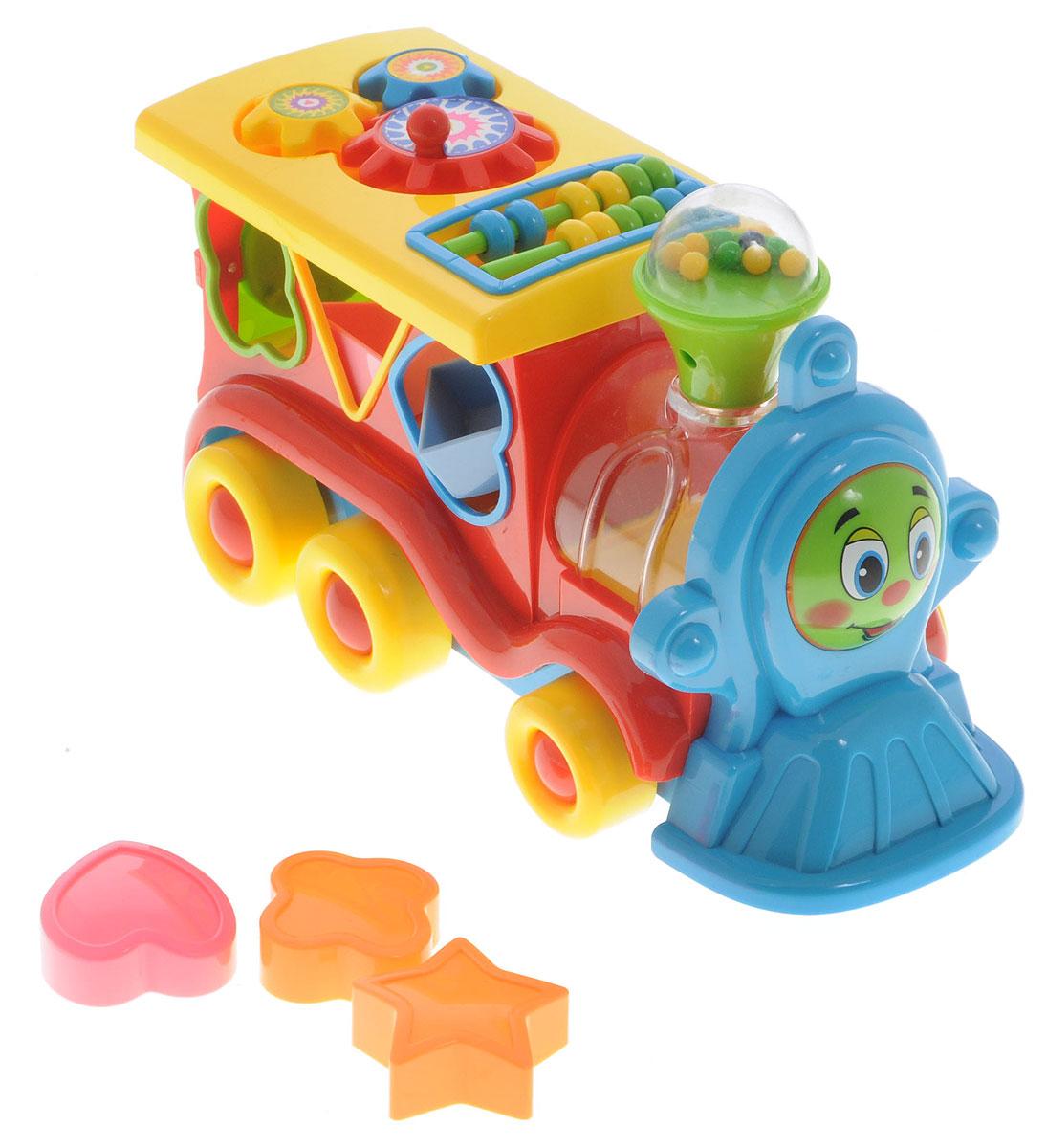 Умка Развивающая игрушка Обучающий паровозик цвет красныйB746947-R_красныйРазвивающая игрушка Умка Обучающий паровозик - лучший подарок для маленького ребенка. Ваш малыш разовьет музыкальные и сенсорные способности, наглядно-образное мышление и логико-математические способности. Звук паровоза и песня не дадут скучать малышу. Играя с фигурами, он разовьет мелкую моторику и тактильные ощущения. Необходимо купить 3 батарейки напряжением 1,5V типа ААА (не входят в комплект).