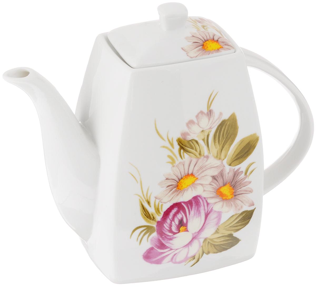 Чайник заварочный Loraine Цветочная идиллия, 1 л21169Заварочный чайник Loraine Цветочная идиллия изготовлен из высококачественной керамики с гладким глазурованным покрытием. Изделие декорировано красочным цветочным рисунком. Чайник снабжен удобной ручкой и широким носиком. В основании носика расположены фильтрующие отверстия от попадания чаинок в чашку. Изысканный заварочный чайник украсит сервировку стола к чаепитию. Благодаря красивому утонченному дизайну и качеству исполнения он станет хорошим подарком друзьям и близким. Размер чайника (по верхнему краю): 6 х 4 см. Высота чайника (без учета крышки): 15,5 см.