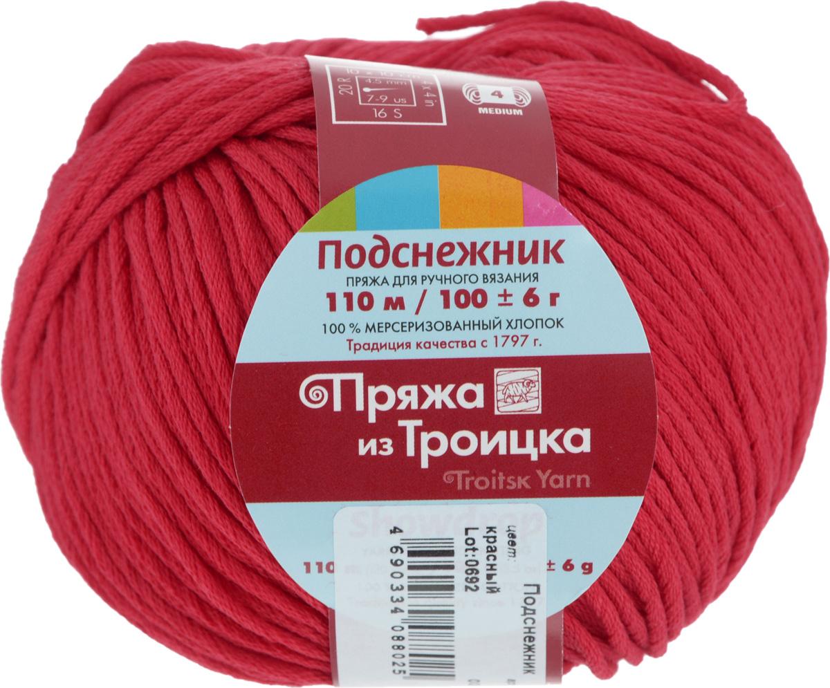 Пряжа для вязания Подснежник, цвет: красный (0043), 110 м, 100 г, 10 шт366132_0043Пряжа Подснежник, изготовленная из мерсеризованного хлопка, предназначена для ручного вязания. Толстая прочная пряжа плотно скручена из многих нитей. Изделия из этой пряжи не линяют и сохраняют после стирки не только цвет, но и форму. Подходит для вязания блузок, туник, платьев, болеро и другой летней повседневной и праздничной одежды. Состав: 100% мерсеризованный хлопок.