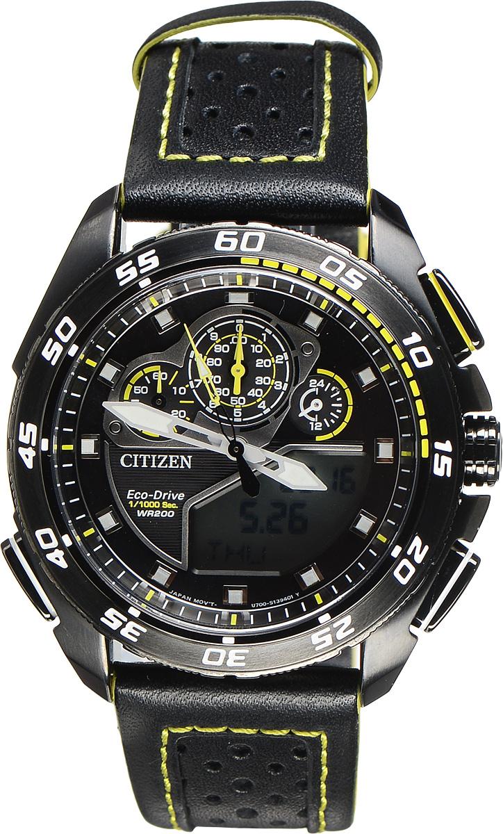 Часы наручные мужские Citizen Eco-Drive, цвет: черный, желтый. JW0125-00EJW0125-00EМногофункциональные спортивные мужские часы Citizen Eco-Drive с поворотным безелем выполнены из нержавеющей стали. Циферблат изделия оформлен символикой бренда. Часы оснащены функцией хронографа, функцией отображения времени в формате 12/24, функцией мирового времени, будильником, секундомером и таймером. Корпус часов обладает степенью влагозащиты 20 bar, оснащен аналоговым и цифровым циферблатами, а также антибликовым сапфировым стеклом. Стильный кожаный ремешок, идеально дополняющий корпус изделия, оснащен практичной пряжкой, которая позволит максимально комфортно снимать и надевать часы. Современная технология Eco-Drive позволяет заряжать аккумулятор изделия с помощью любого естественного или искусственного источника света. Часы поставляются в фирменной упаковке. Часы Citizen Eco-Drive подчеркнут мужской характер и отменное чувство стиля у их обладателя.