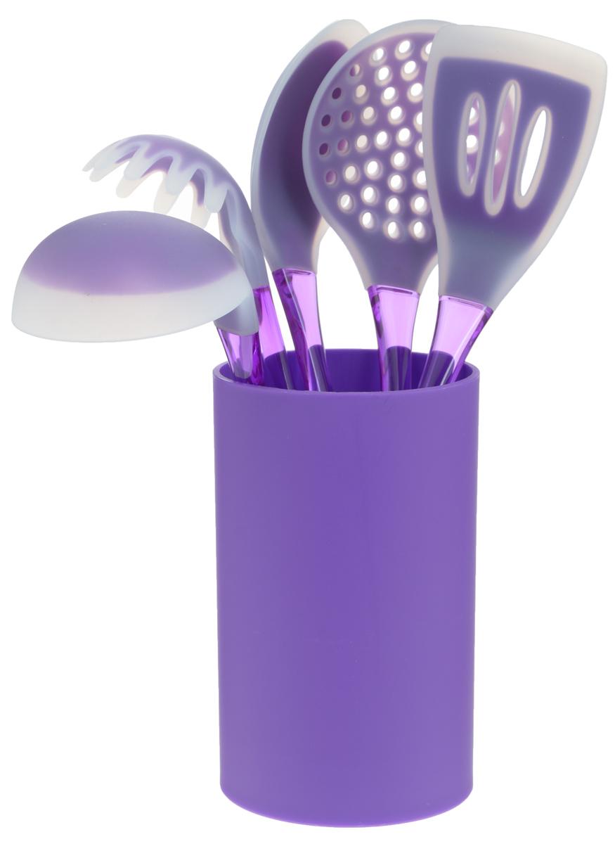 Набор кухонных принадлежностей Mayer & Boch, цвет: фиолетовый, 6 предметов22487Набор кухонных принадлежностей Mayer & Boch включает ложку для спагетти, лопатку с прорезями, ложку для помешивания, шумовку, половник и подставку. Приборы выполнены из полистирола, рабочие поверхности предметов покрыты безопасным пищевым силиконом, что позволяет использовать их для посуды с антипригарным покрытием. Ручки приборов снабжены отверстиями для подвешивания. Для удобного хранения в наборе предусмотрена подставка с покрытием Soft-Touch. Этот профессиональный набор очень удобен в использовании. Наслаждайтесь приготовлением пищи с набором кухонных принадлежностей Mayer & Boch. Длина ложки для спагетти: 31 см. Диаметр рабочей поверхности ложки для спагетти: 7,5 см. Длина шумовки: 34 см. Диаметр рабочей поверхности шумовки: 10,5 см. Длина ложки: 33 см. Размер рабочей поверхности ложки: 6,5 х 11 см. Длина лопатки: 33,5 см. Размер рабочей поверхности лопатки: 8 х 10 см. Длина половника: 30,5 см. ...