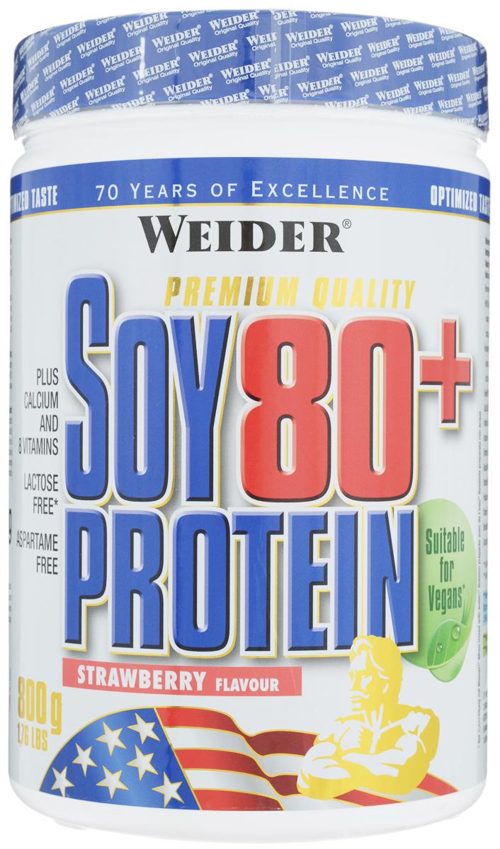 Протеин Weider Soy 80+, клубника, 800 г30521Изолят соевого протеина с витаминами и кальцием Weider Soy 80+ не содержит лактозы, глютена и аспартама. Идеален для формирования рельефа мускулатуры, когда нужно употреблять как можно меньше лактозы. Продукт обогащен всеми необходимыми атлету витаминами. Идеальное дополнение белка в рацион для вегетарианцев. Рекомендации по применению: во время фазы формирования рельефа принимать по две-три порции. Рекомендации по приготовлению: 30 г порошка растворить в 300 мл соевого молока или воды. Состав: изолированный соевый протеин, гуаровая смола, цикламат натрия, ацесульфам калия, натрий сахарин, витамин С, ниацин, пантотеновая кислота, витамин В6, рибофлавин, тиамин, витамин В12. Питательная ценность (на 1 порцию 30 г, с учетом приготовления на соевом молоке): протеины 35,8 г, углеводы 2,2 г, из них сахара 1,5 г, жиры 6,9 г, витамин С 30 мг, витамин В1 0,9 мг, витамин В2 0,8 мг, витамин В6 1 мг, ниацин 9 мг, фолиевая кислота 90 мкг, витамин В12 0,25 мкг, биотин...