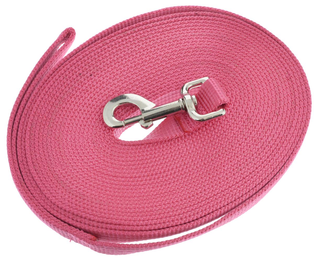 Поводок для собак Аркон, цвет: розовый, ширина 2,5 см, длина 10 мпк10м25_розовыйПоводок для собак Аркон изготовлен из высококачественного брезента. Карабин выполнен из легкого сверхпрочного сплава. Поводок - необходимый аксессуар для собаки. Ведь в опасных ситуациях именно он способен спасти жизнь вашему любимому питомцу. Иногда нужно ограничивать свободу своего четвероногого друга, чтобы защитить его или себя от неприятностей на прогулке. Длина поводка: 10 м. Ширина поводка: 2,5 см.