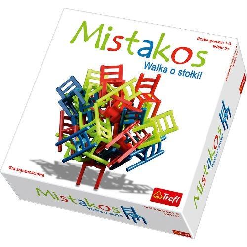 Trefl Настольная игра Mistakos01143TИгра Mistakos – это необычное развлечение, тренирующее пространственное мышление, логику, стратегические способности ребенка. А, кроме того, это невероятно весело и подходит для игры в любой компании от 5 до 99 лет! В новой игре от Trefl вы найдете 24 разноцветных ярких стула (8 зеленых, 8 синих и 8 красных). Их необходимо водружать друг на друга. На столе может стоять только один стул, все остальные нужно размещать так, чтобы их ножки не касались стола. Поначалу игра кажется очень легкой, пока противник не начинает делать ходы, которые осложняют вам жизнь. Стоит сделать неверный ход, как башня из стульев обвалится. Вы забираете себе все упавшие во время вашего хода стулья (еще один вариант игры предусматривает начисление штрафных очков по количеству упавших стульев). Победителем становится тот, кто первым избавился от своей мебели (либо набравший минимальное количество штрафных очков по итогов нескольких раундов). В коробке: 24 стула, инструкция к игре. Возраст...