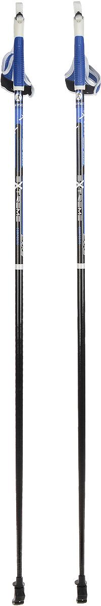 Палки для скандинавской ходьбы STC Extreme, цвет: черный, синий, длина 115 смEXTREME 115Палки для скандинавской ходьбы STC Extreme обладают отличным запасом прочности, благодаря эргономичным свойствам стеклопластика. Специальный усиленный наконечник и резиновый башмачок придают надежности и долговечности при активном использовании этих палок на абсолютно любых поверхностях и в любое время года. Текстильные петли на ручках делают эксплуатацию более удобной.