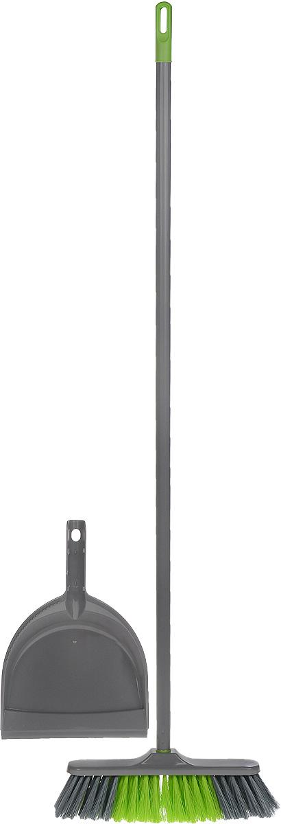 Набор для уборки мусора York Tandem, цвет: серый, салатовый, 2 предмета8202_серый, салатовыйНабор для уборки мусора York Tandem состоит из щетки с черенком и совка. Антистатическая щетка выполнена из пластика с длинным мягким ворсом и предназначена для уборки сухого мусора. Черенок изготовлен из металла с петлей, которая позволит повесить его на крючок. Универсальная резьба подходит для всех съемных швабр-насадок и щеток. Совок оснащен эргономичной ручкой со специальным отверстием для крепления. Набор для уборки York Tandem позволит быстро легко собрать сухой мусор с любых поверхностей. Размер щетки: 27,5 х 4,5 см. Длина ворса: 7 см. Длина черенка: 106 см. Ширина рабочей поверхности совка: 21 см. Длина ручки совка: 12 см.