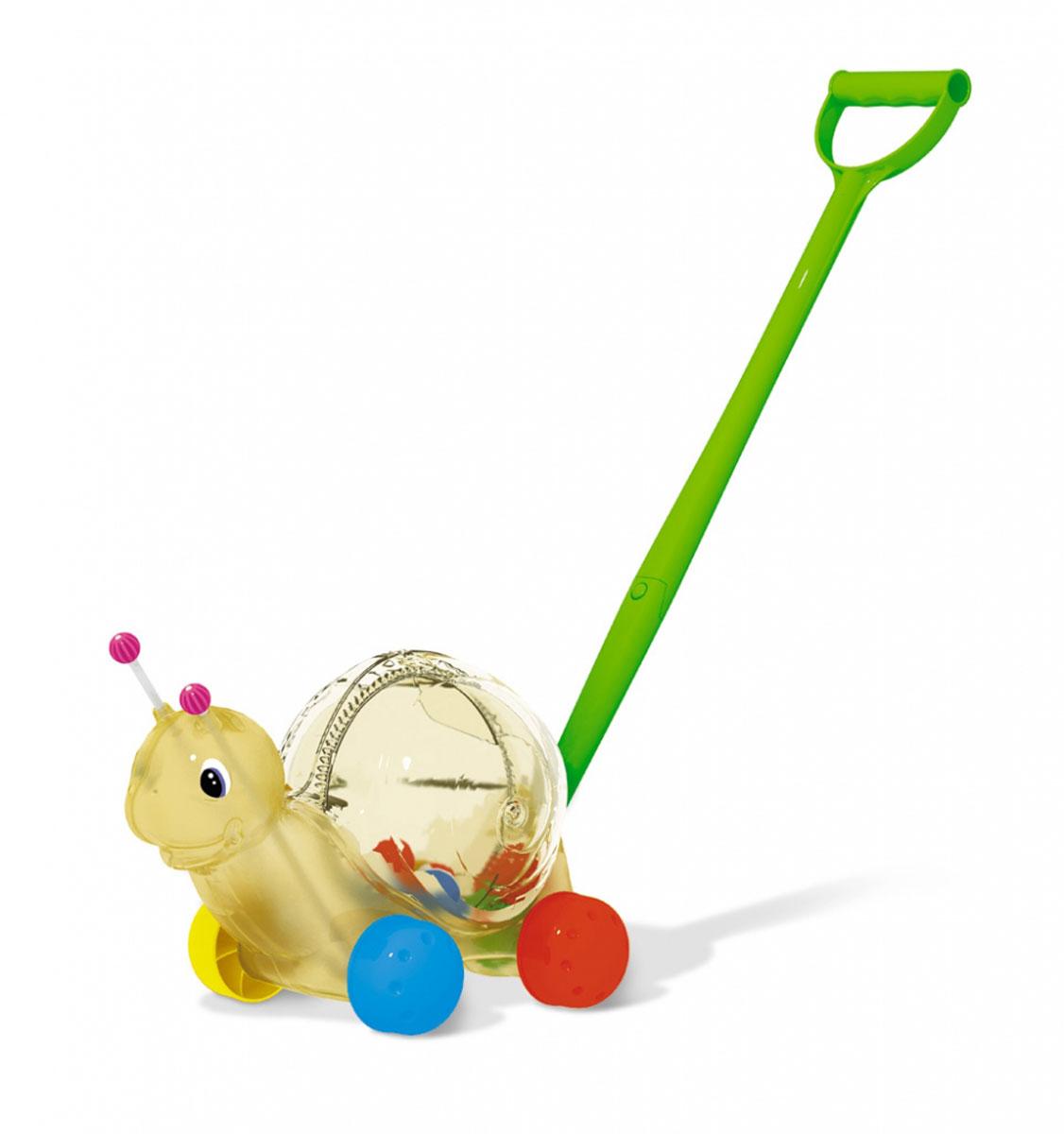 Stellar Игрушка-каталка Улитка01359Яркая игрушка-каталка Stellar Улитка непременно понравится вашему малышу и подойдет для игры, как дома, так и на свежем воздухе. Игрушка выполнена из прочного пластика в виде симпатичной улитки на колесиках. Улитка порадует малыша своим веселым видом и шариками внутри игрушки, которые будут весело греметь при передвижении. Игрушка-каталка Stellar Улитка развивает пространственное мышление, цветовое восприятие, тактильные ощущения, ловкость и координацию движений.