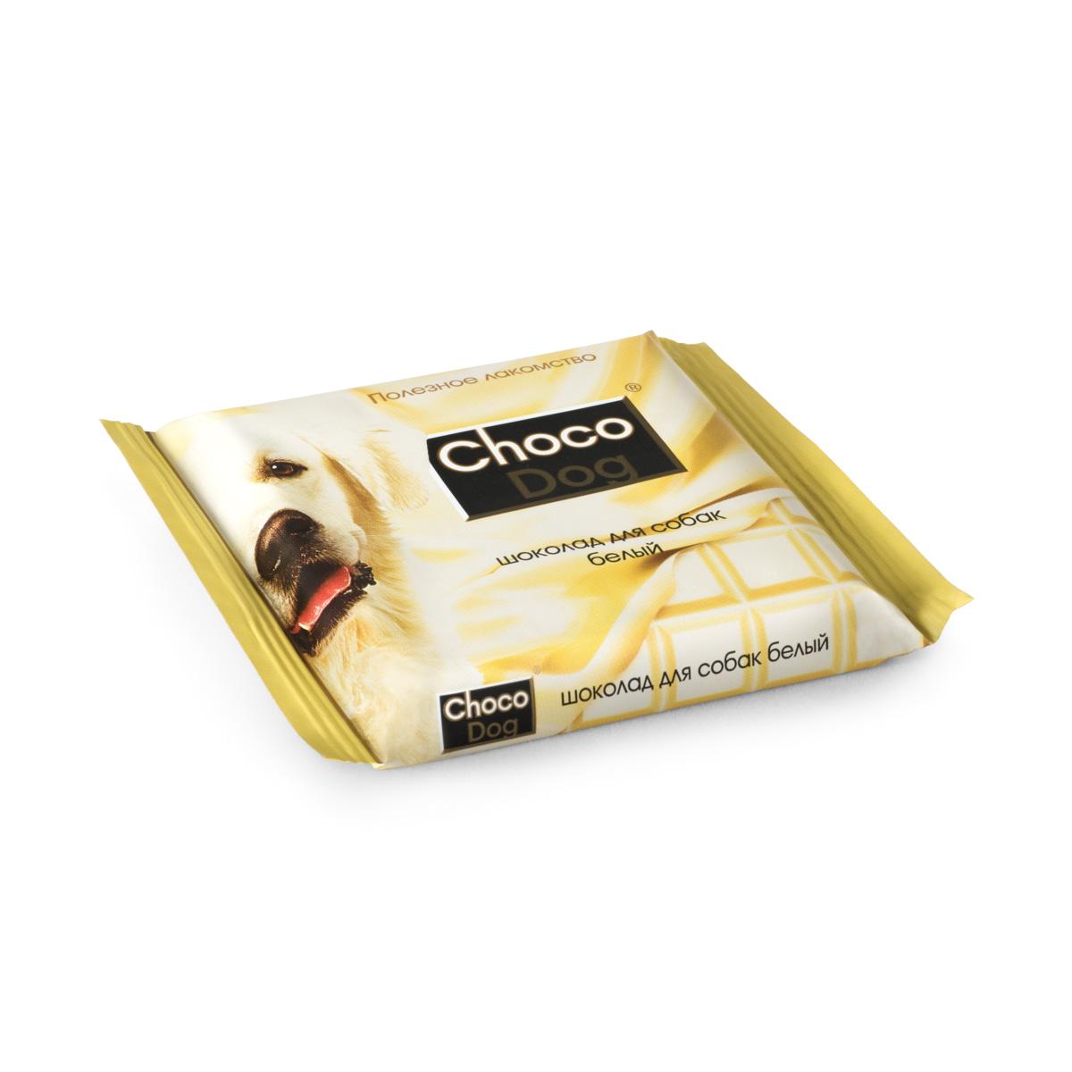Choco Dog шоколад белый лакомство для собак, 85г4605543005107Белый шоколад без какао и сахара. Рекомендуется собакам с выраженными аллергическими реакциями на продукты питания. В состав входят: трава стевия, лецитин, пивные дрожжи.