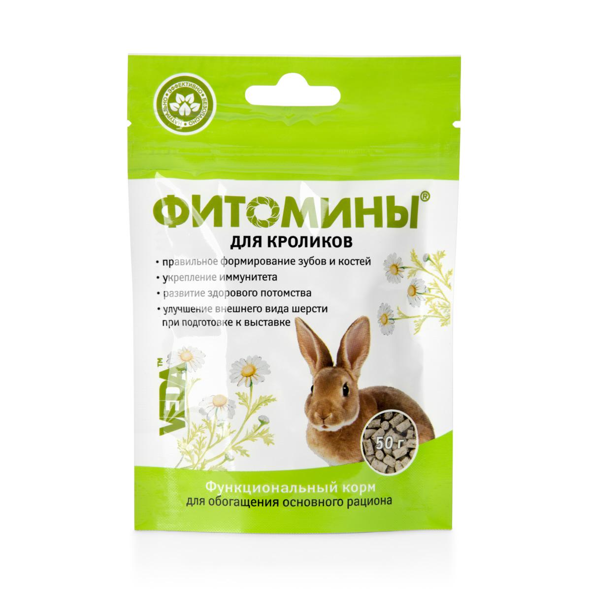 Фитомины функциональный корм для кроликов, 50г4605543006197Для полноценного здоровья и прекрасного внешнего вида грызунов и кроликов - способствует успешному восстановлению после травм и заболеваний, - улучшает внешний вид шерсти перед выставками, - укрепляет зубы, - способствует рождению здорового потомства.