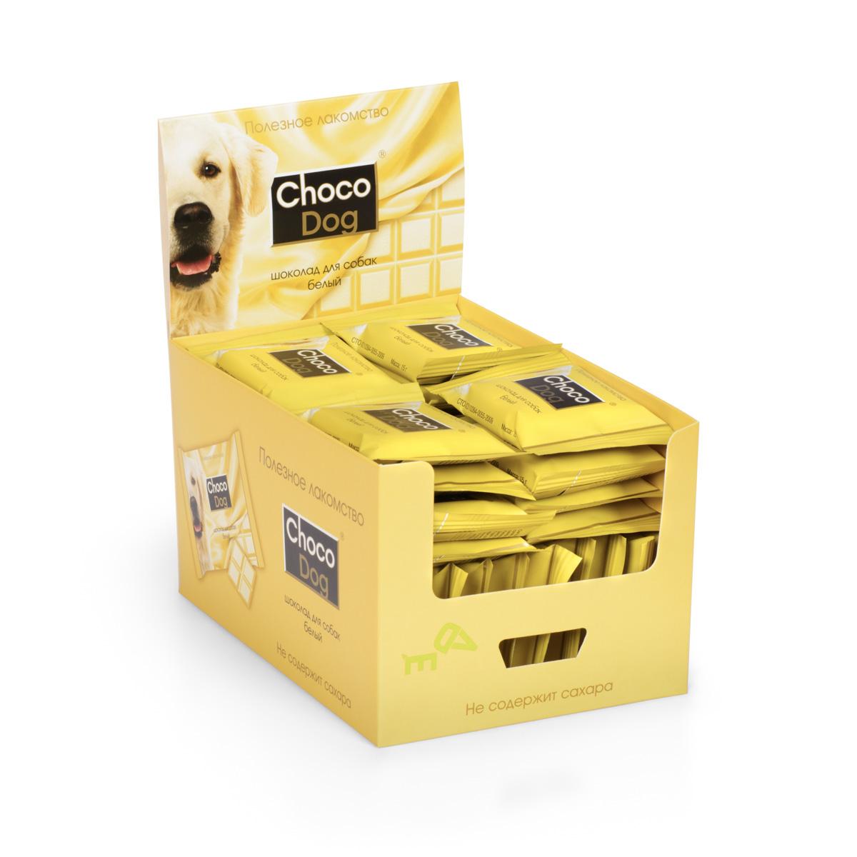Лакомство для собак VEDA Choco Dog, белый шоколад, 40 х 15 г4605543006517Лакомство для собак VEDA Choco Dog со вкусом шоколада используется в качестве угощения, с целью поощрения, при дрессуре животных. При производстве учтены физиологические особенности собак, поэтому состав всех лакомств не содержит сахара и какао. Их заменители растительного происхождения обогащают лакомство полезными свойствами: - вместо сахара в шоколаде используется экстракт сладкой травы стевии, который безопасен для животных; - вкус шоколада придает кэроб (порошок плодов рожкового дерева), замещая вредное для собак какао. Состав белого шоколада разработан с учетом животных, склонных к аллергическим реакциям. Риск пищевой аллергии сведен к минимуму. Сладкое лакомство для собак без вреда для здоровья. Товар сертифицирован.