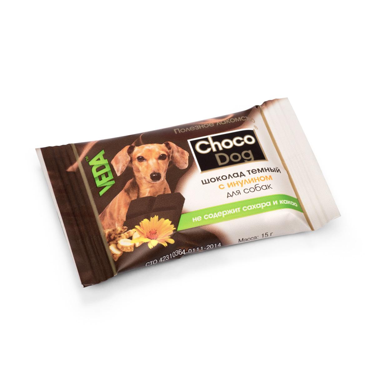 Choco Dog шоколад темный с инулином лакомство для собак, 15г4605543006579В состав лакомств серии Шоколад с полезным наполнителем введены натуральные ингредиенты, которые известны своим полезным действием на организм: - морковь способствует профилактике сердечных и глазных заболеваний; - инулин (пребиотик) поддерживает полезную микрофлору кишечника; - рис благодаря наличию витаминов группы В, витамина Е, ряда микроэлементов полезен для костей, сердца и сосудов.