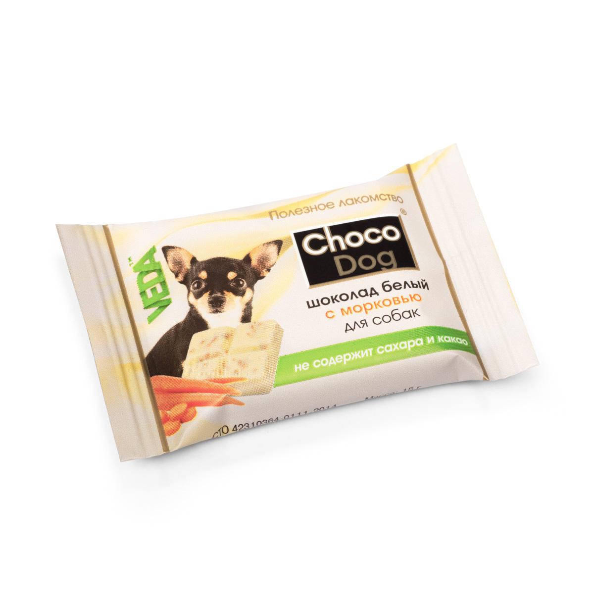 Choco Dog шоколад белый с морковью лакомство для собак, 15г4605543006593В состав лакомств серии Шоколад с полезным наполнителем введены натуральные ингредиенты, которые известны своим полезным действием на организм: - морковь способствует профилактике сердечных и глазных заболеваний; - инулин (пребиотик) поддерживает полезную микрофлору кишечника; - рис благодаря наличию витаминов группы В, витамина Е, ряда микроэлементов полезен для костей, сердца и сосудов.