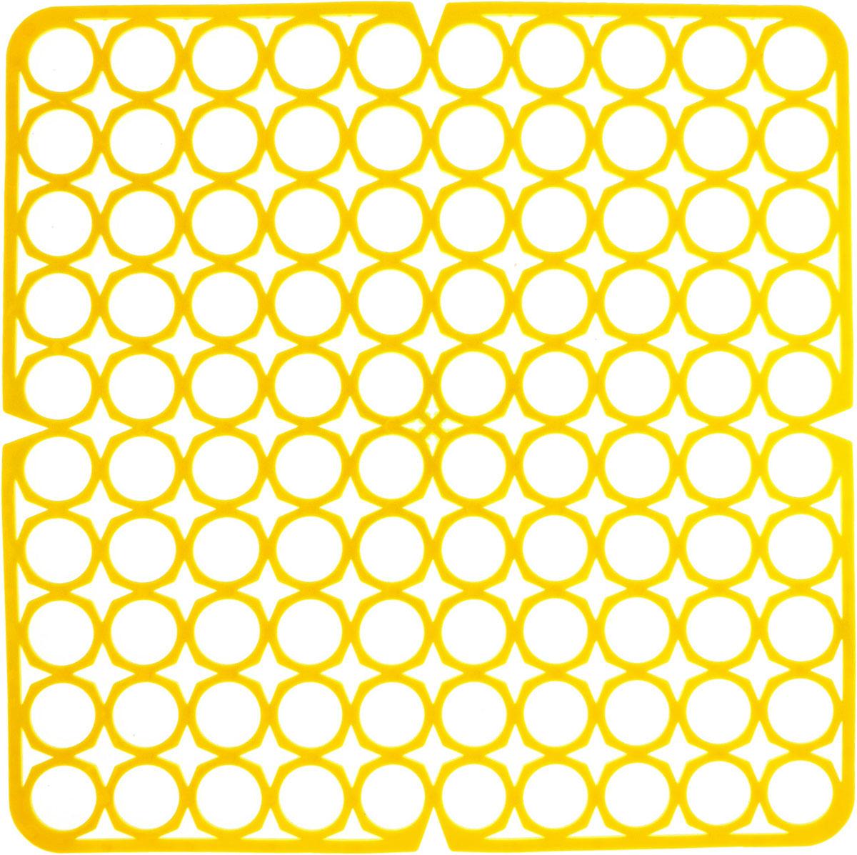 Коврик для раковины York, цвет: желтый, 27,5 х 27,5 см9561/095610_желтыйСтильный и удобный коврик для раковины York изготовлен из сложных полимеров. Он одновременно выполняет несколько функций: украшает, защищает мойку от царапин и сколов, смягчает удары при падении посуды в мойку. Коврик также можно использовать для сушки посуды, фруктов и овощей. Он легко очищается от грязи и жира.