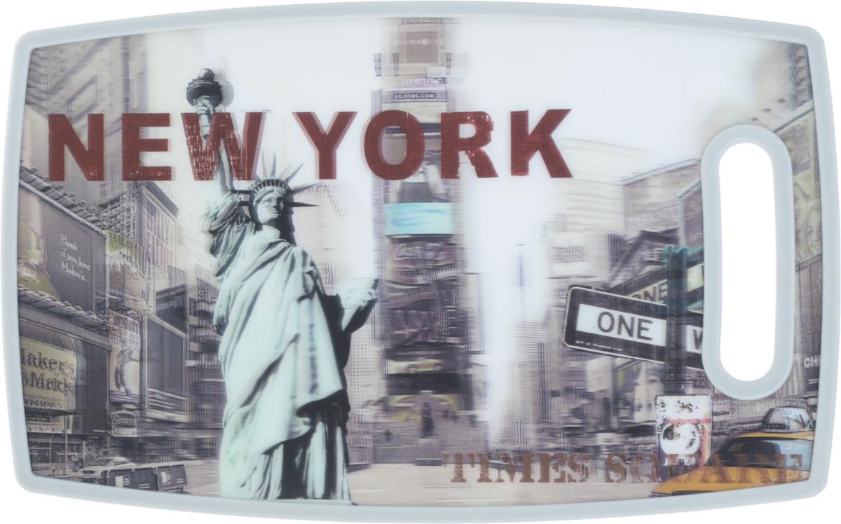 Доска разделелочная 3D Mayer & Boch New-York, 37 х 23 см24760Разделочная доска 3D Mayer & Boch New-York, выполненная из высококачественного полипропилена и древесных волокон, станет незаменимым аксессуаром на вашей кухне. Одна сторона доски декорирована 3D изображением Нью-Йорка, другая сторона белого цвета. Антибактериальное покрытие защищает от плесени, грибков и неприятных запахов. Изделие отлично подходит для приготовления и измельчения пищи, а также для сервировки стола. Такая доска прекрасно впишется в интерьер любой кухни и прослужит вам долгие годы.
