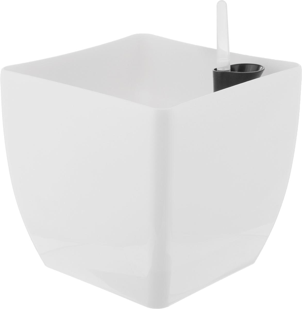 """Кашпо квадратное """"Coubi"""", с системой автополива, цвет: белый, 19 х 19 х 18 см"""