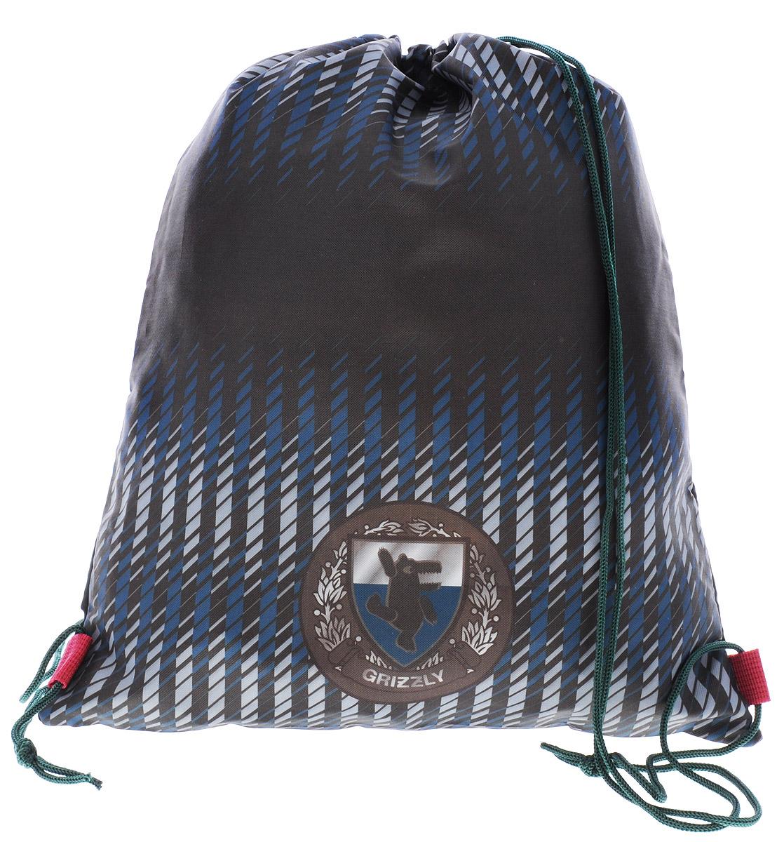 Grizzly Мешок для обуви цвет черный зеленый синийOM-667-8/1Мешок для обуви Grizzly идеально подойдет как для хранения, так и для переноски сменной обуви и одежды. Мешок выполнен из прочного материала и содержит одно вместительное отделение, затягивающееся с помощью текстильных шнурков. Шнурки фиксируются в нижней части сумки, благодаря чему ее можно носить за спиной как рюкзак. Ваш ребенок с радостью будет ходить с таким аксессуаром в школу! Уход: протирать мыльным раствором (без хлора) при температуре не выше 30 градусов.