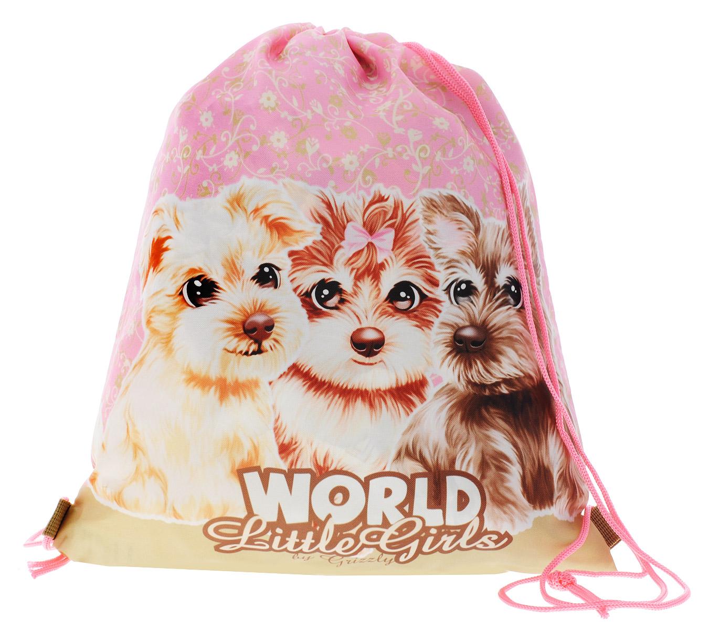 Grizzly Мешок для обуви World Little Girls цвет розовый бежевый