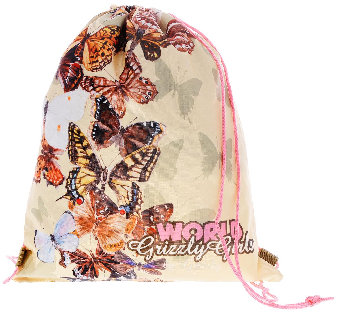 Grizzly Мешок для обуви World Grizzly Girls цвет бежевыйOM-672-3/1Мешок для обуви Grizzly World Grizzly Girls идеально подойдет как для хранения, так и для переноски сменной обуви и одежды. Мешок выполнен из прочного материала и содержит одно вместительное отделение, затягивающееся с помощью текстильных шнурков. Шнурки фиксируются в нижней части сумки, благодаря чему ее можно носить за спиной как рюкзак. Ваш ребенок с радостью будет ходить с таким аксессуаром в школу! Уход: протирать мыльным раствором (без хлора) при температуре не выше 30 градусов.