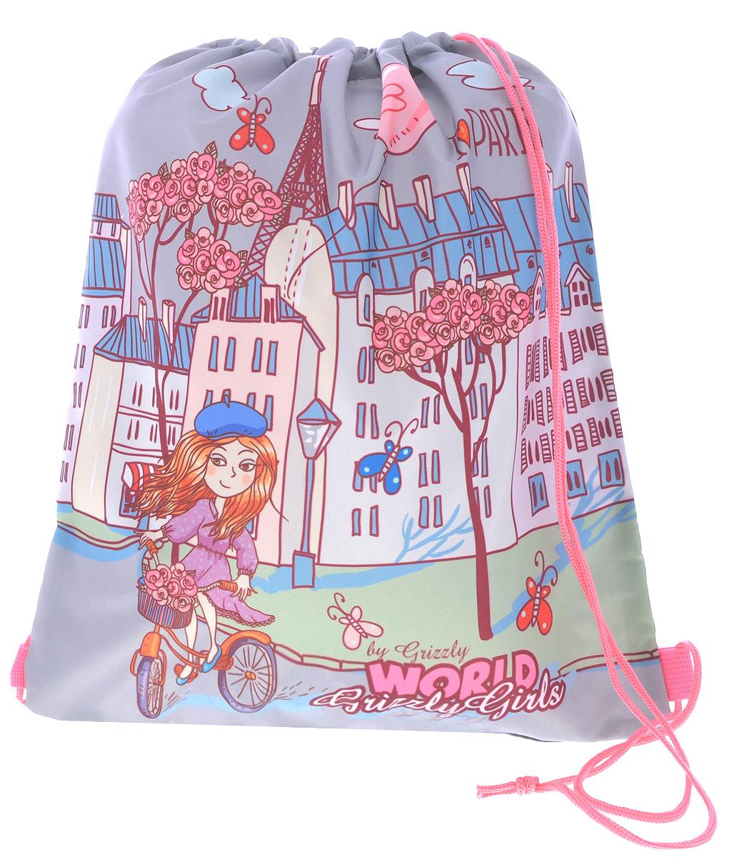 Grizzly Мешок для обуви World Grizzly Girls цвет серый розовый