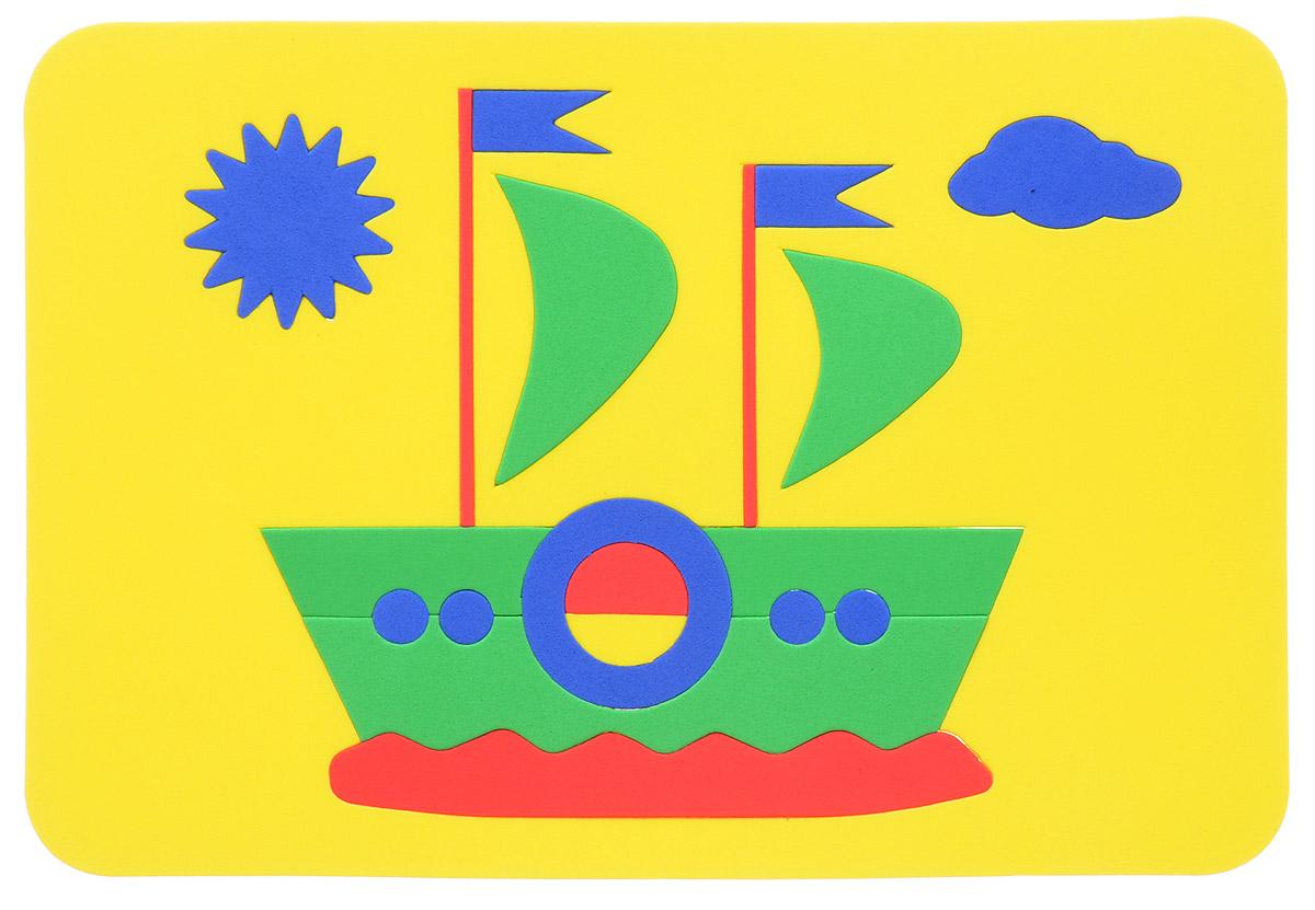 Август Пазл для малышей Кораблик цвет основы желтый27-2009_желтыйПазл для малышей Август Кораблик выполнен из мягкого полимера, который дает юному конструктору новые удивительные возможности в игре: детали мозаики гнутся, но не ломаются, их всегда можно состыковать. Пазл представляет собой рамку, в которой из разноцветных элементов собирается яркий кораблик с парусами. Ваш ребенок сможет собрать его и в ванной. Элементы мозаики можно намочить, благодаря чему они будут хорошо прилипать к стене в ванной комнате. Такая игрушка развивает пространственное и логическое мышления, память и глазомер, знакомит с формами и цветом предмета в процессе игры.