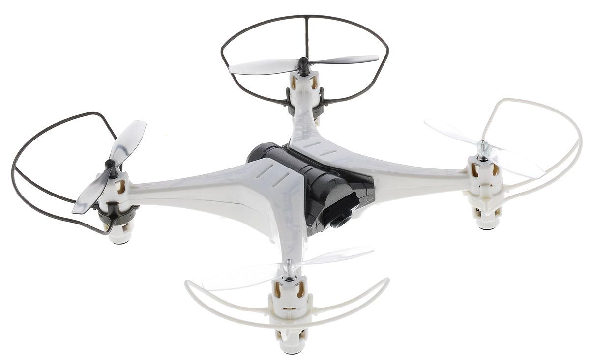 Silverlit Квадрокоптер на радиоуправлении Spy Drone II цвет белый серый84738_белый, серыйКвадрокоптер Silverlit Spy Drone II с четырехканальным радиоуправлением непременно понравится и ребенку, и взрослому. Управление квадрокоптером осуществляется при помощи удобного пульта. Пульт управления работает на частоте 2,4 GHz, а радиус его действия составляет 30 метров. Квадрокоптер может летать вверх-вниз, поворачивать налево-направо, летать в стороны, вперед и назад, а также поворачиваться на 360 градусов. Квадрокоптер имеет встроенную камеру, с помощью которой вы сможете осуществлять фото- и видеосъемку. Использовать квадрокоптер можно в закрытых помещениях или на улице в сухую и безветренную погоду. Радиоуправляемые игрушки развивают многочисленные способности ребенка - мелкую моторику, пространственное мышление, реакцию и логику. Квадрокоптер работает от встроенного аккумулятора, который заряжается с помощью USB-кабеля (входит в комплект). Для работы пульта управления необходимо купить 3 батарейки напряжением 1,5V типа АА (в комплект не входят).