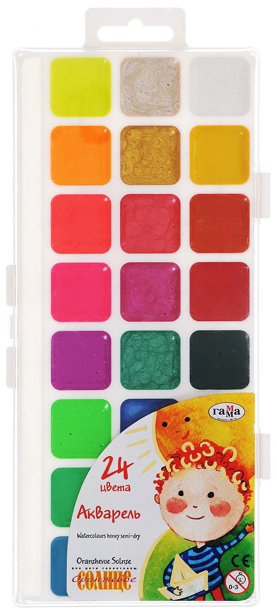 Гамма Акварель Оранжевое солнце 24 цвета212084Акварельные краски Оранжевое солнце помогут воплотить в жизнь любые художественные замыслы на занятиях в школах, детских садах, художественных кружках или дома. Яркие насыщенные цвета делают процесс рисования более увлекательным. В набор также входят золотой, серебряный и флуоресцентный цвета. Кисточка в комплект не входит.