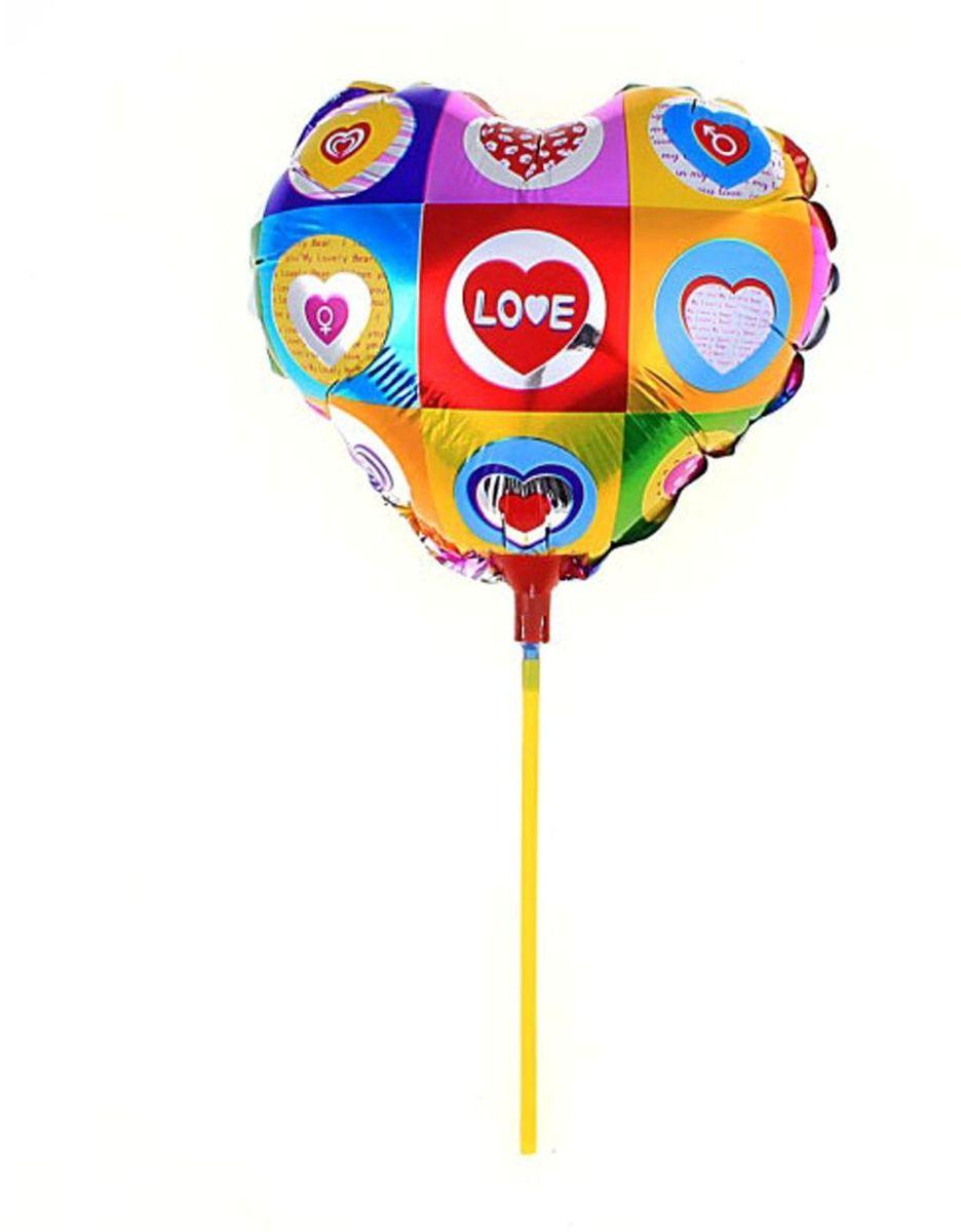 Sima-land Воздушный шарик Сердце 10 с палочкой цветное 319475