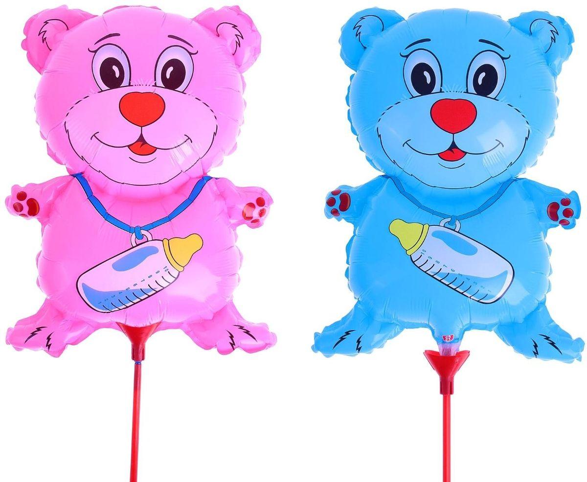 Sima-land Шар фольга Мишка с соской 10 с палочкой цвет розовый