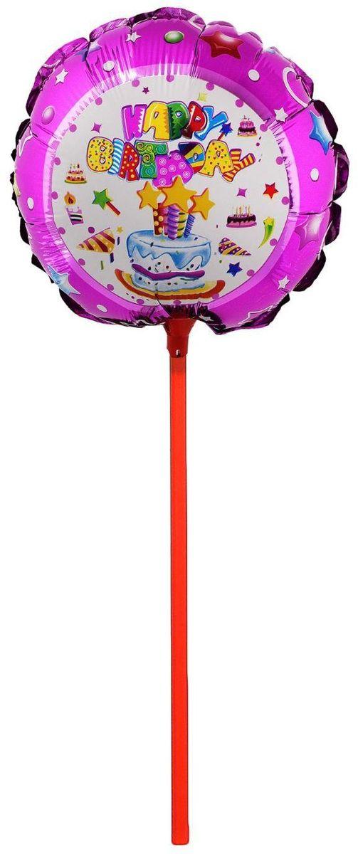 Sima-land Воздушный шарик Торт со свечами Круг 18 с палочкой 324390