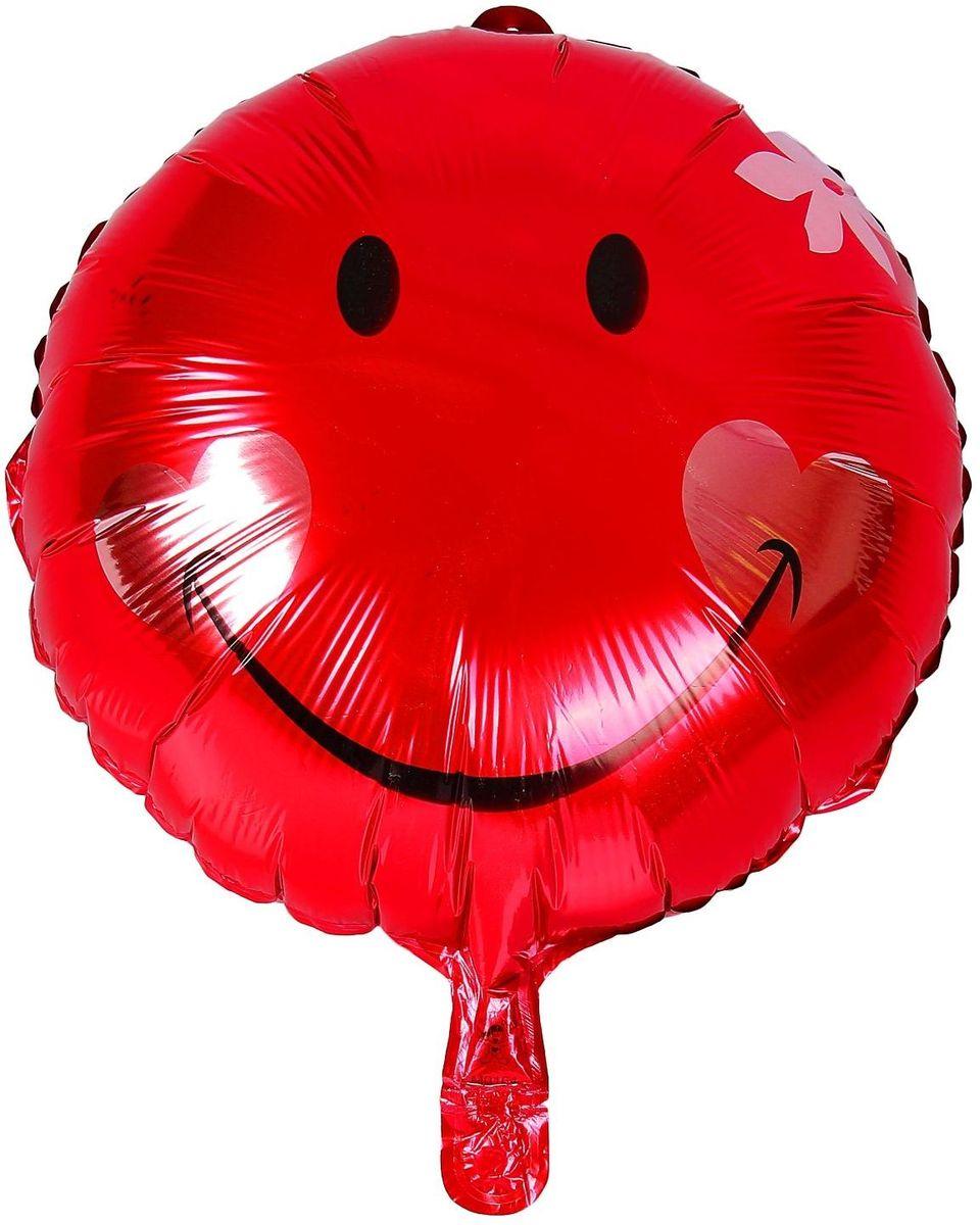 Sima-land Воздушный шарик Шар улыбка с цветком Круг 18 325837