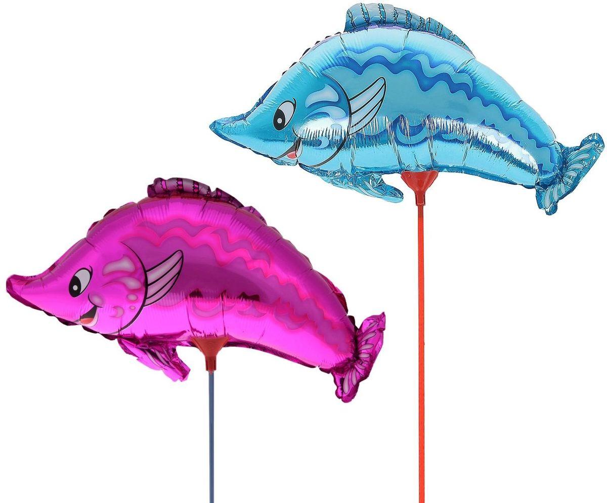 Sima-land Воздушный шарик Рыбка 10 с палочкой цвет розовый 331166