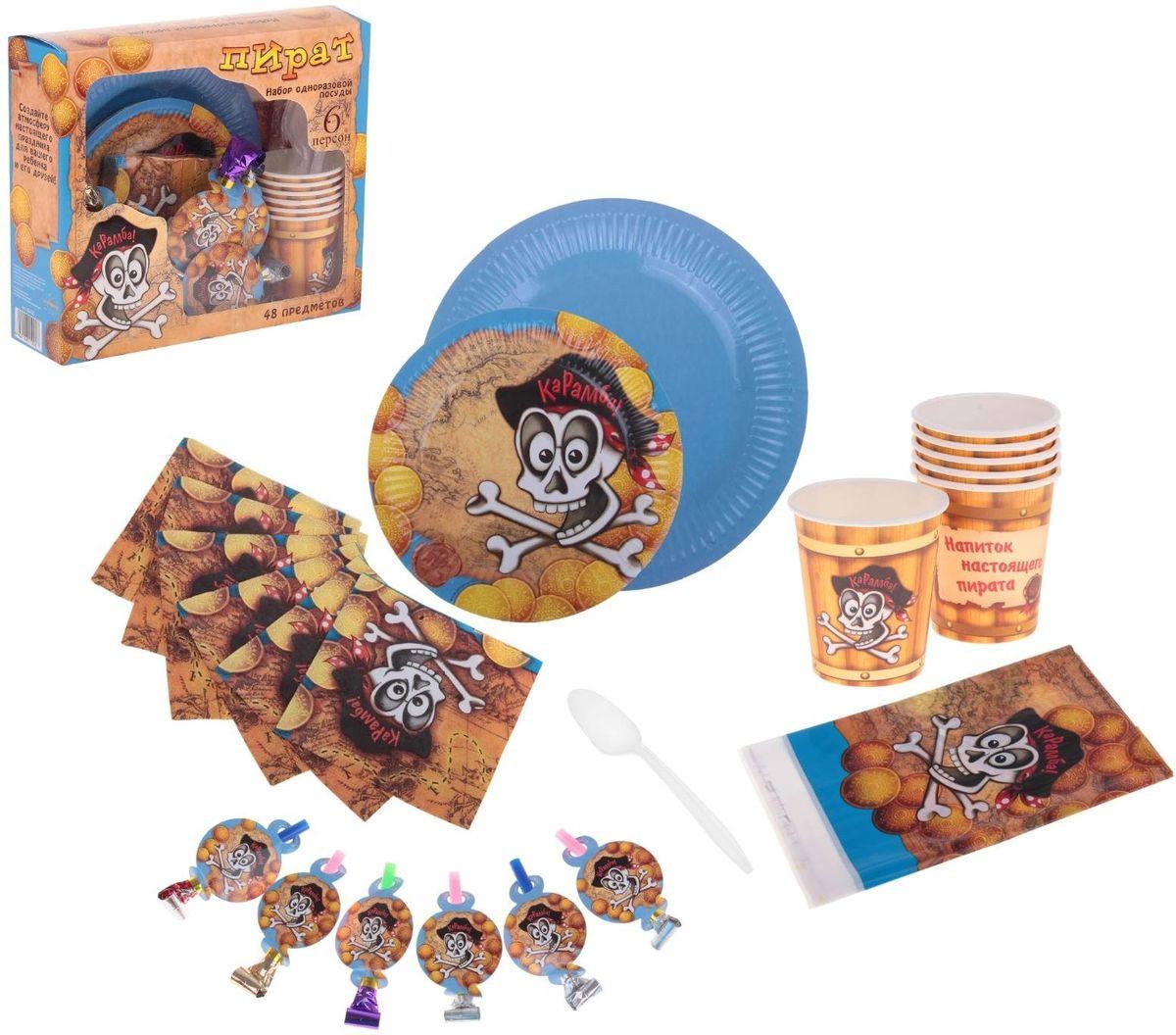 Страна Карнавалия Набор бумажной посуды Пират на 6 персон