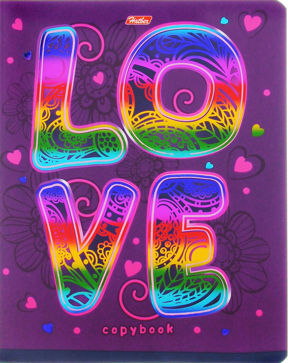 Hatber Тетрадь Love 48 листов в клетку48Т5фВ1_14553Тетрадь Hatber Love отлично подойдет для занятий школьнику, студенту или для различных записей. Обложка, выполненная из плотного картона, украшена тиснением радужной фольгой. Игра разноцветных металлизированных переливов в сочетании с оригинальными узорами дарит тетрадке магический эффект. Внутренний блок тетради, соединенный металлическими скрепками, состоит из 48 листов белой бумаги в голубую клетку с полями.