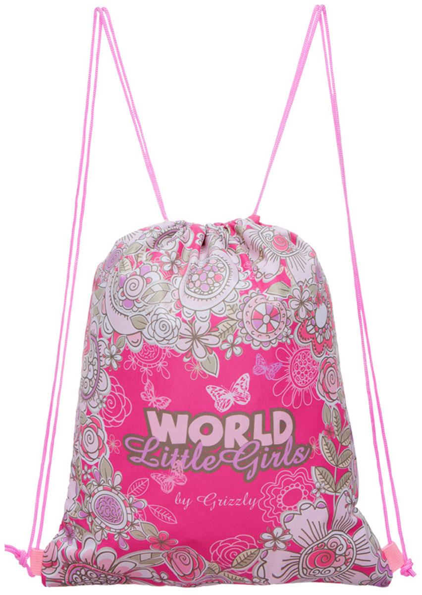 Grizzly Мешок для обуви World Little Girls цвет розовый мультиколорOM-668-5/2Мешок для обуви Grizzly World Little Girls изготовлен из ткани Оксфорд 250 Д с водоотталкивающей пропиткой. Мешок имеет одно отделение, закрывающееся стягивающимся нейлоновым шнуром. Плотная прочная ткань надежно защитит обувь школьника от непогоды, а удобные петли шнура позволят носить мешок как в руках, так и за спиной.