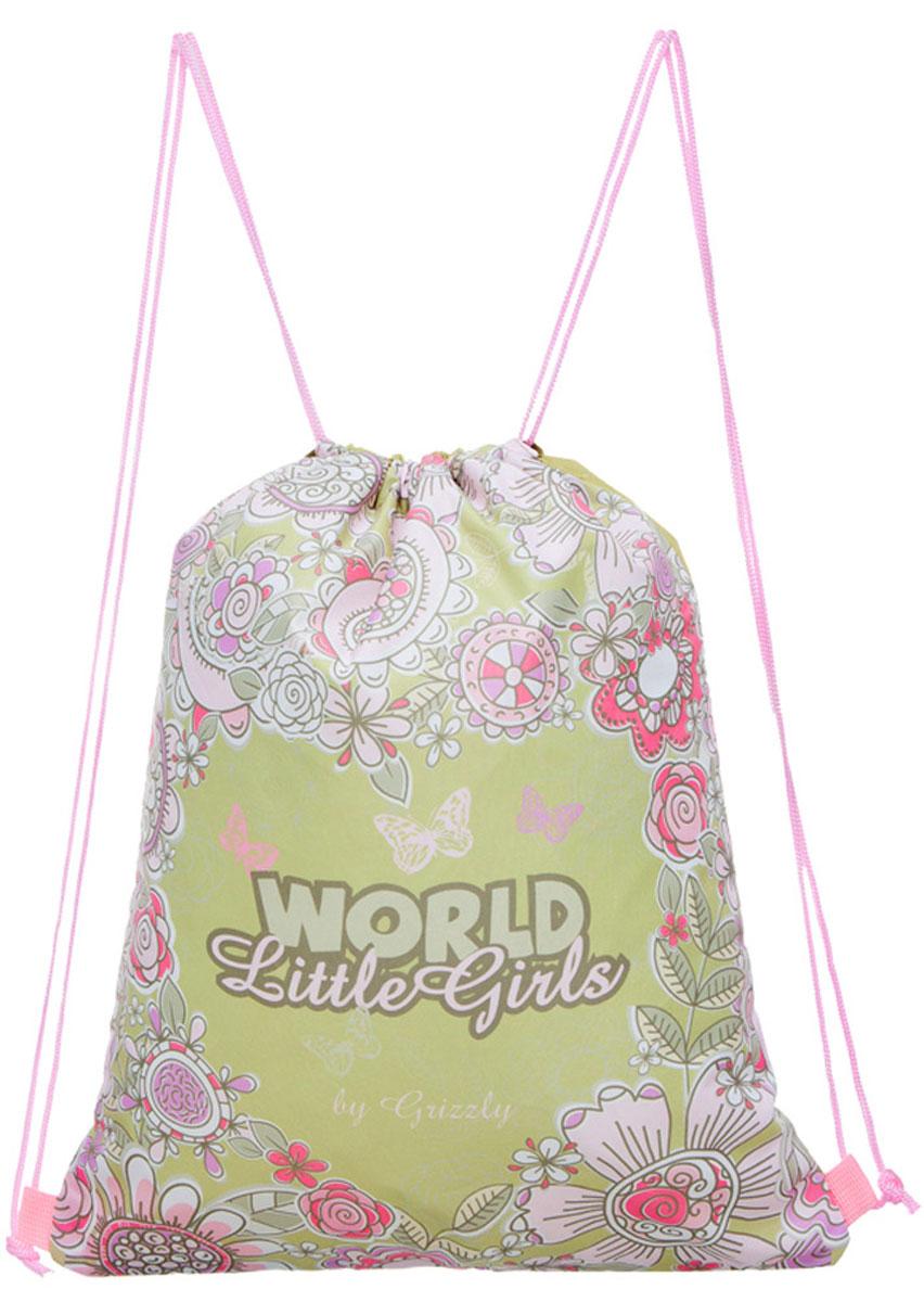 Grizzly Мешок для обуви World Little Girls цвет салатовый розовый фиолетовыйOM-668-5/1Мешок для обуви Grizzly World Little Girls изготовлен из ткани Оксфорд 250 Д с водоотталкивающей пропиткой. Мешок имеет одно отделение, закрывающееся стягивающимся нейлоновым шнуром. Плотная прочная ткань надежно защитит обувь школьника от непогоды, а удобные петли шнура позволят носить мешок как в руках, так и за спиной.