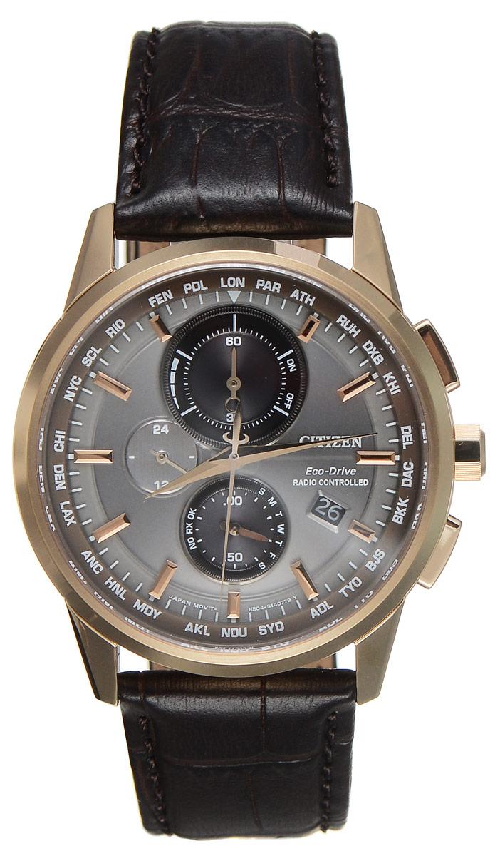 """Часы наручные мужские Citizen """"Eco-Drive"""", цвет: золотой, коричневый. AT8113-12H"""