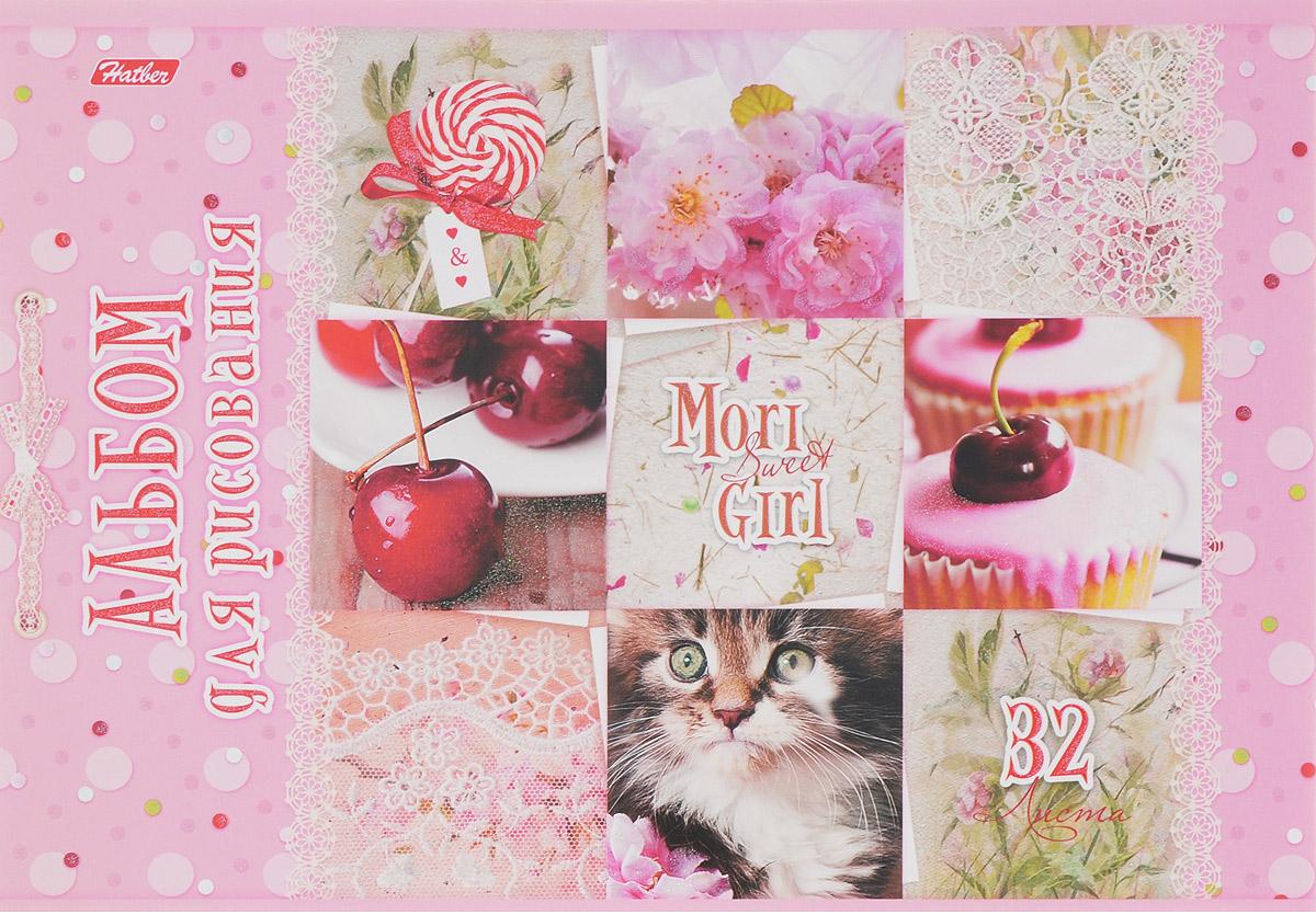 Hatber Альбом для рисования Sweet Mori Girl 32 листа 1455032А4блВ_14550Альбом для рисования Hatber Sweet Mori Girl порадует маленькую художницу и вдохновит ее на творчество. Альбом изготовлен из белоснежной бумаги с яркой обложкой из плотного картона, оформленной милыми картинками и блестками. Внутренний блок альбома, соединенный двумя металлическими скрепками, состоит из 32 листов. Высокое качество бумаги позволяет рисовать в альбоме карандашами, фломастерами, акварельными и гуашевыми красками.