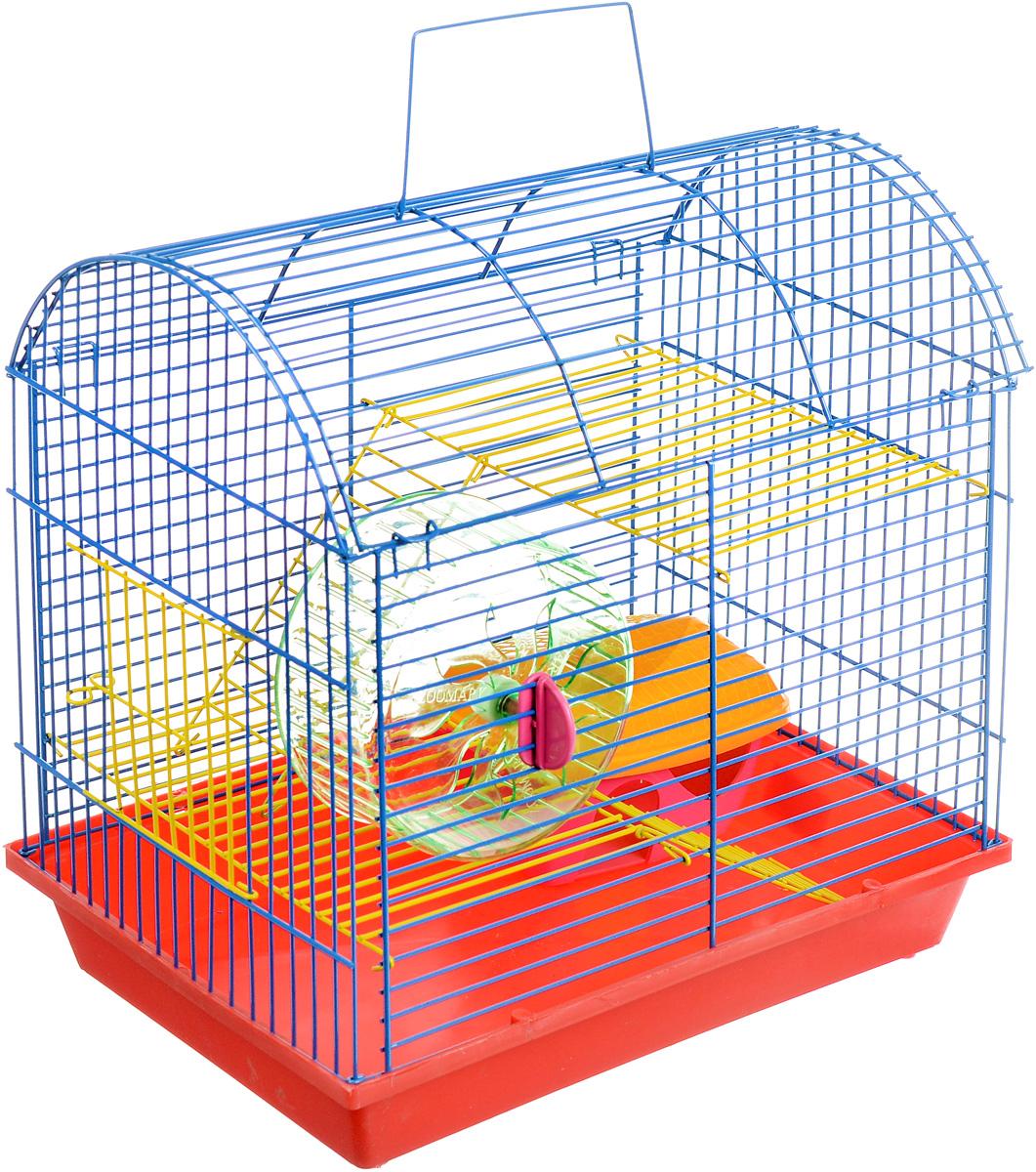 Клетка для грызунов ЗооМарк, 2-этажная, цвет: красный поддон, синяя решетка, желтые этажи, 37 х 23 х 35 см112жкКлетка ЗооМарк, выполненная из полипропилена и металла, подходит для мелких грызунов. Изделие двухэтажное, оборудовано колесом для подвижных игр и пластиковым домиком. Клетка имеет яркий поддон, удобна в использовании и легко чистится. Сверху имеется ручка для переноски. Такая клетка станет уединенным личным пространством и уютным домиком для маленького грызуна.